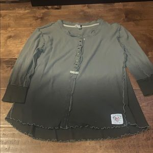 Free People Ombré Green Shirt